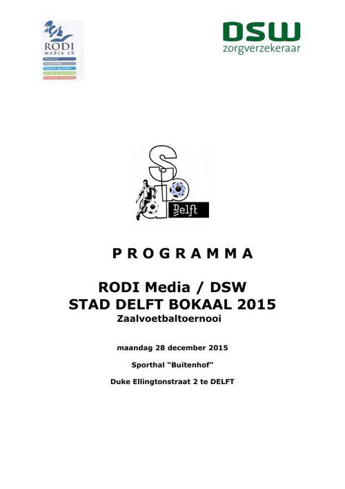 Programmaboekje SDB 2015 Zaalvoetbal RODI MediaDSW maandag 28 de