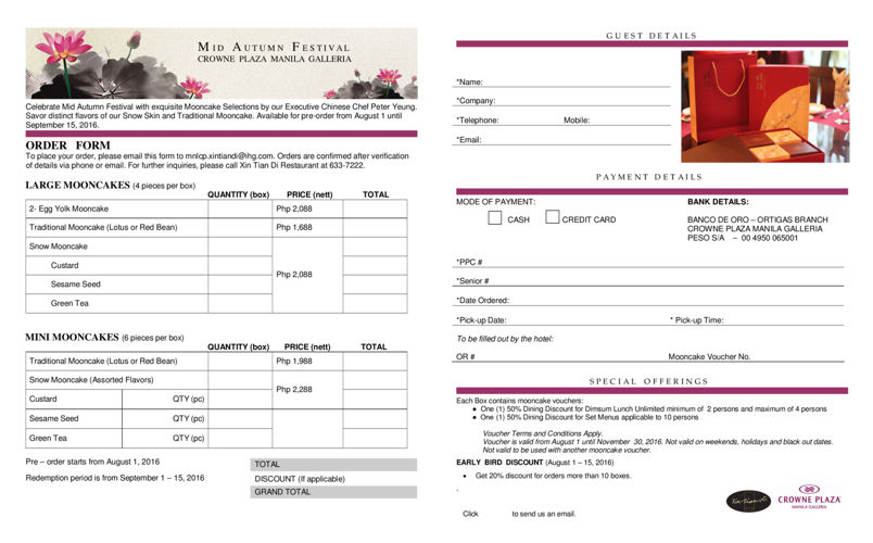 Crowne Plaza Manila's Mooncake Order Form 2016