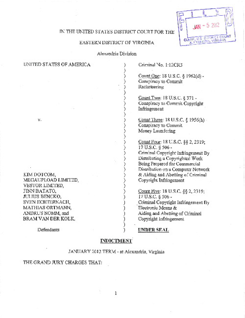 Justice Department indictment of MegaUpload