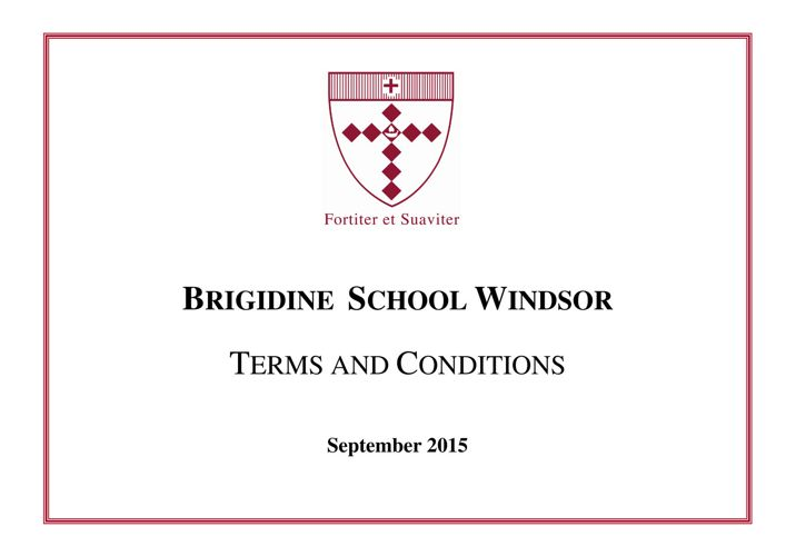 Terms and Conditions from September 2015
