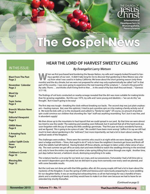 Gospel News November 2015