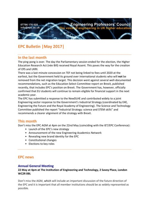 Engineering Professors' Council Bulletin May 2017