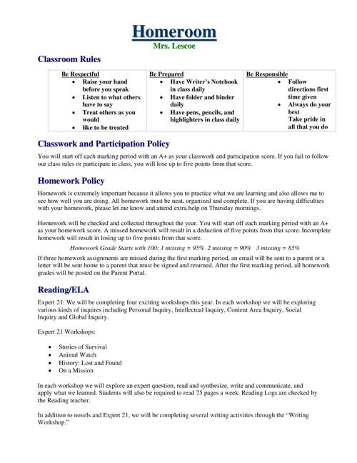 Homeroom Information