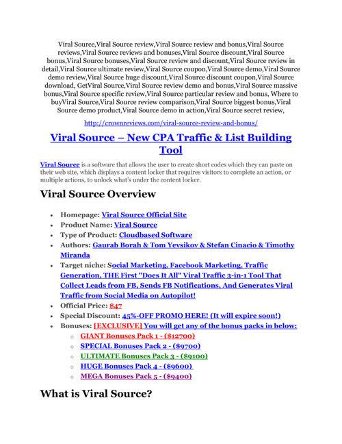 Viral Source review & Viral Source $22,600 bonus-discount