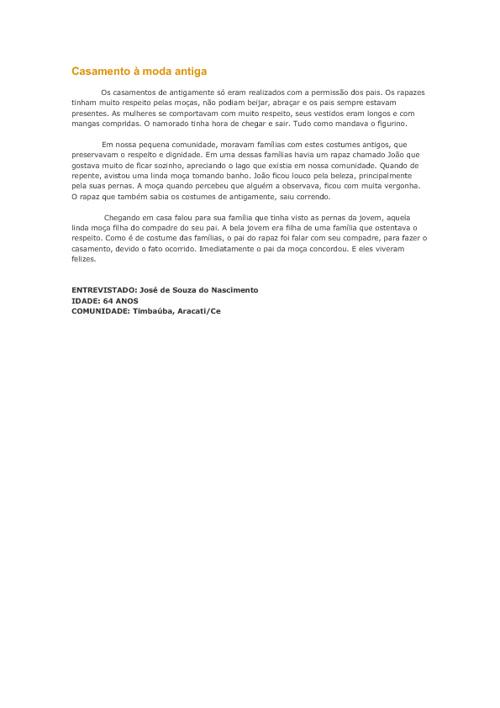Estórias de Aracati (CE) e comunidades - EEM Barão de Aracati