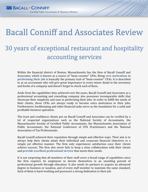 30 years of restaurant and hospitality accounting services