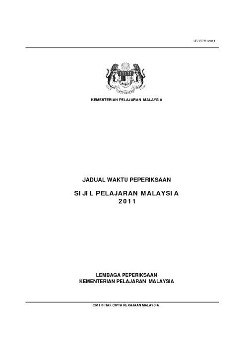 Jadual SPM 2011
