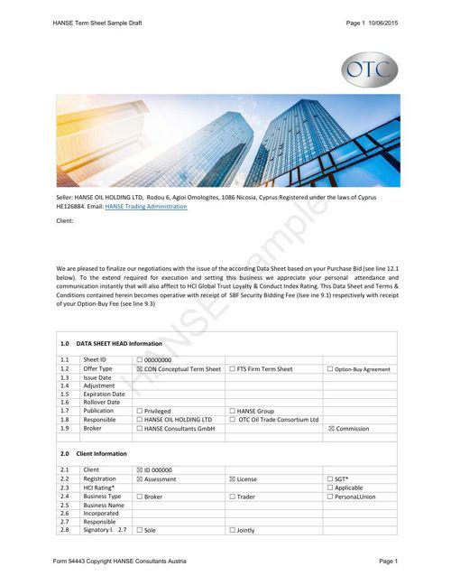 HANSE Data Sheet 2015