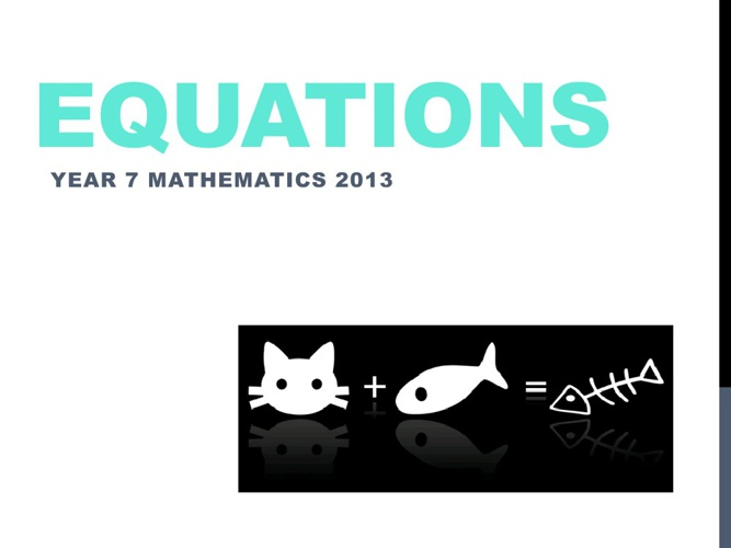 Year 7 Equations Test