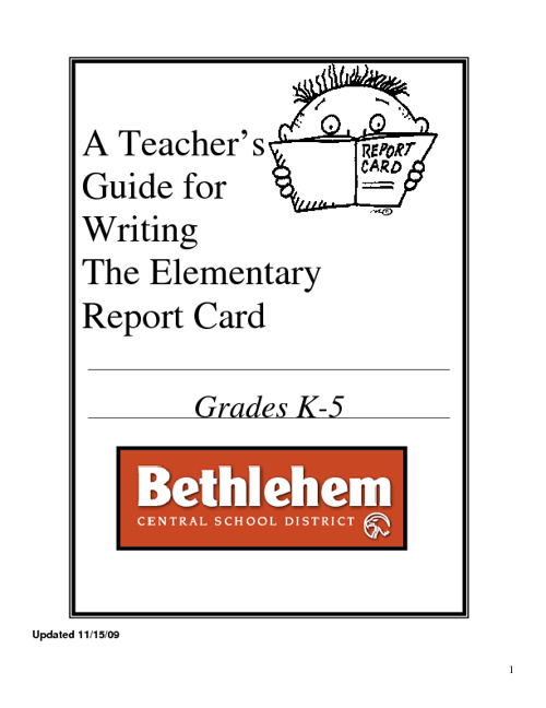 Teacher's Guide to Writing Report Cards