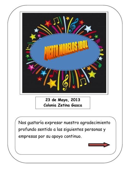 Puerto Morelos Idol Spanish