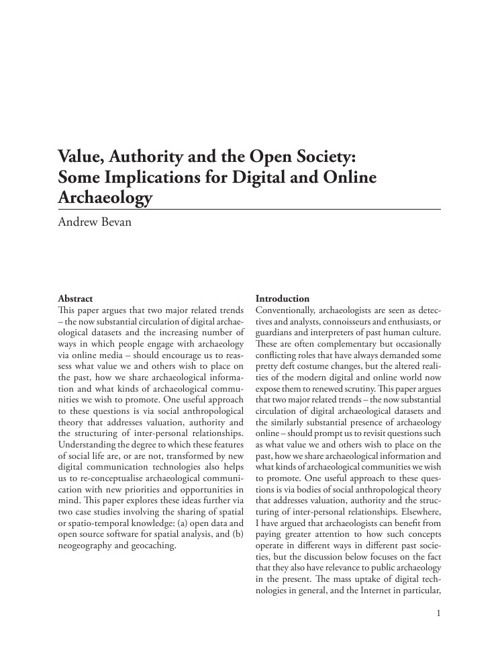 Archaeology and Digital Communication