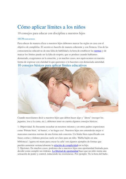 Cómo aplicar límites a los niños