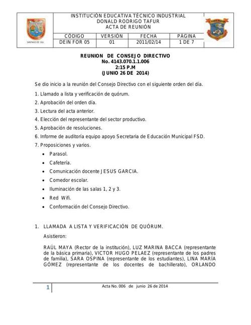 Borrador ACTA DE CONSEJO DIRECTIVO No. 006 DE 26 DE JUNIO DE 201