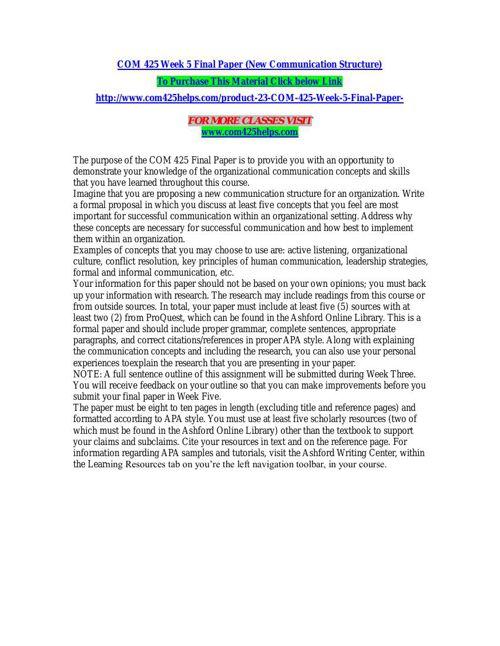 COM 425 Week 5 Final Paper (New Communication Structure)