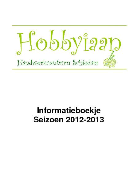 Informatie boekje Hobbyiaan