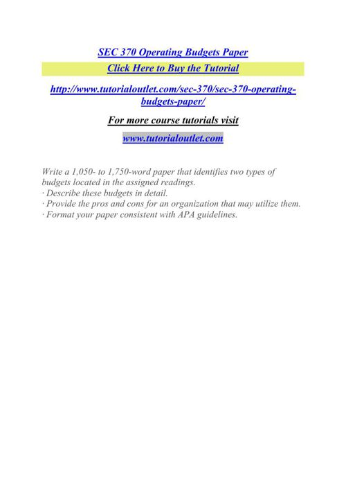 SEC 370 Operating Budgets Paper