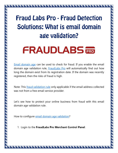 Fraud Labs Pro: What is email domain age validation?