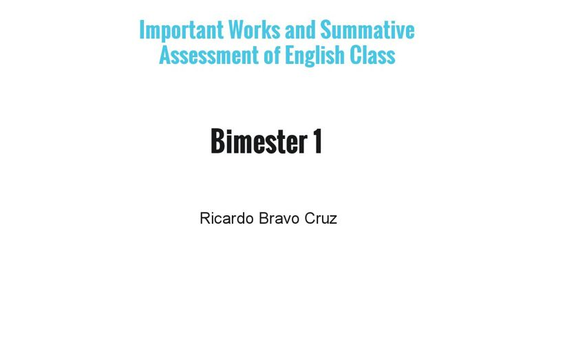 English Works and Summative Assessment