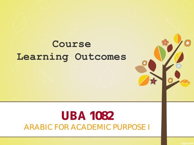 UBA1082- LEARNING OUTCOMES