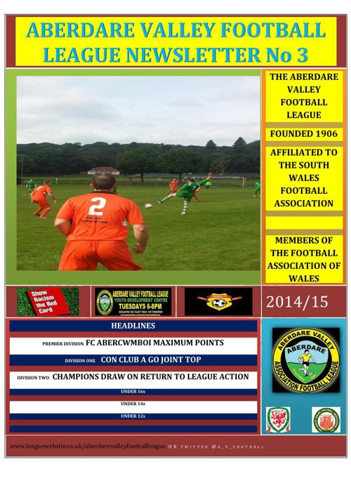 ABERDARE VALLEY FOOTBALL LEAGUE NEWSLETTER ISSUE 3 2014/15