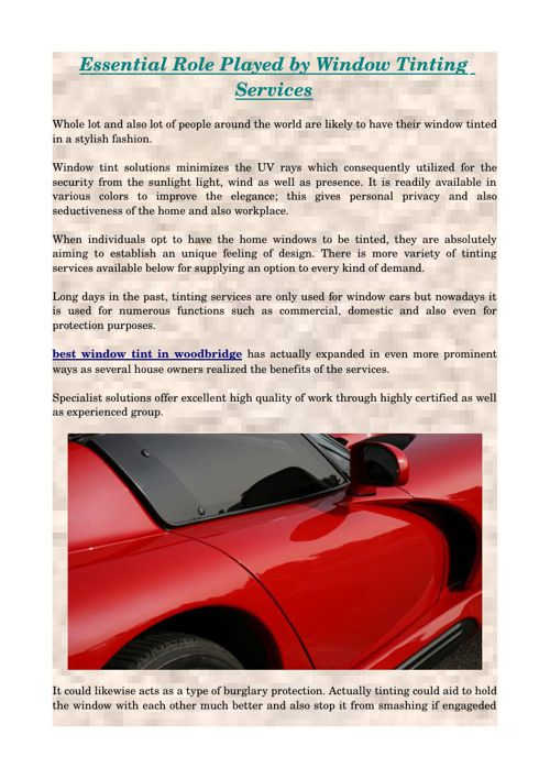 Essential Role Played by Window Tinting Services