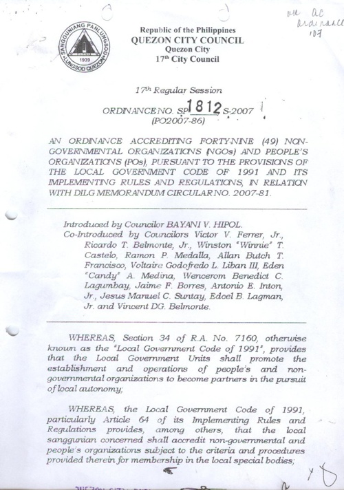 QC ORDINANCE 2007
