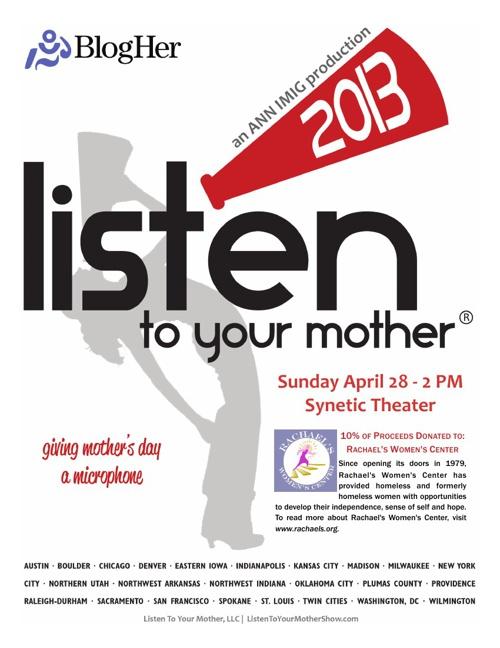 2013 Listen to Your Mother - Washington DC Program