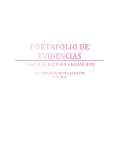 PORTAFOLIO EVIDENCIAS FERNANDA GLEZ HOYOS