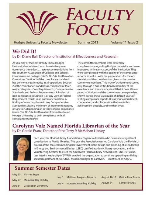 Faculty Focus - Summer 2013