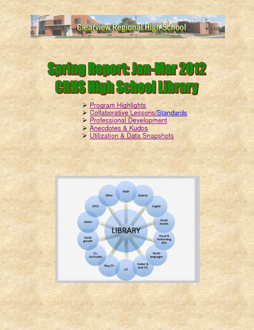 CRHS Spring Library Report: Jan-Mar 2012