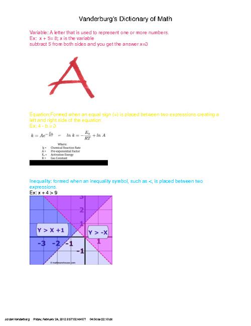 Math Dictionary- Jordan Vanderburg