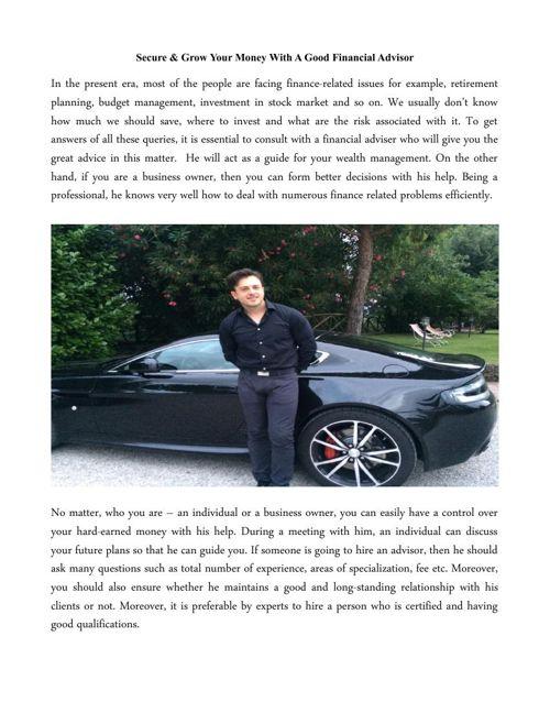 Good Financial Advisor Louis Forino