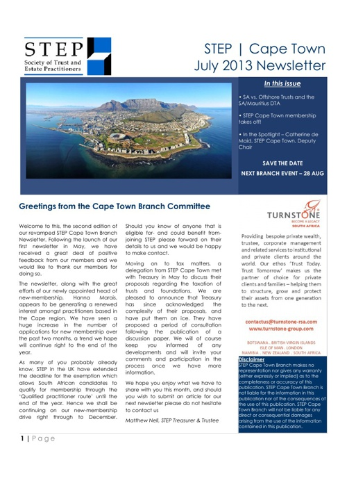 STEP | Cape Town - July 2013 Newsletter