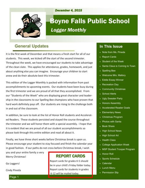 December 4, 2015 Logger Monthly