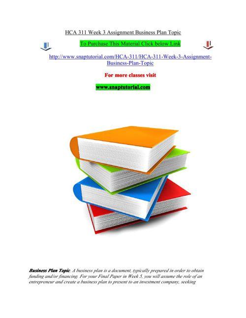 HCA 311 Week 3 Assignment Business Plan Topic