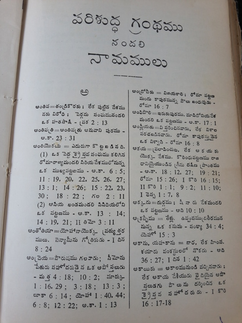 Bible Names and Meanings in Telugu