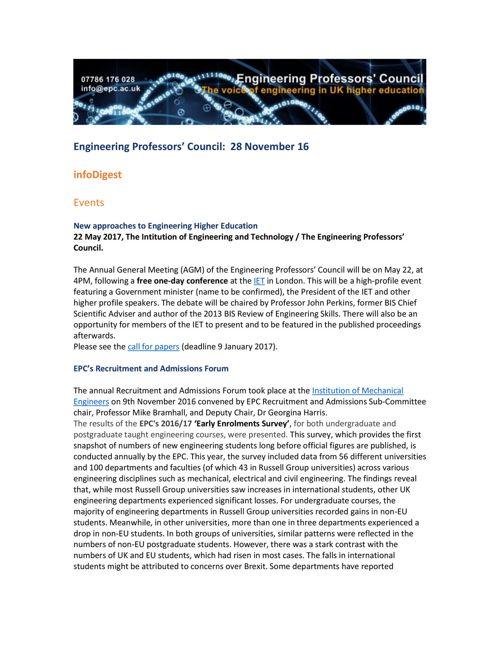 Engineering Professors' Council infoDigest 28 Nov 16