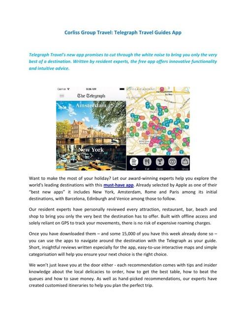 Corliss Group Travel - Telegraph Travel Guides App