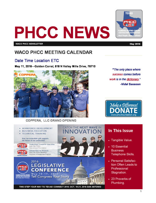 WACO PHCC MAY 2016 Newsletter