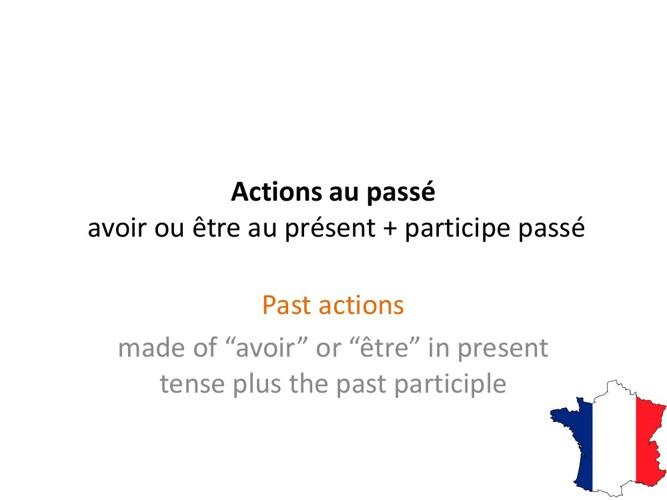 Actions passées - Past actions
