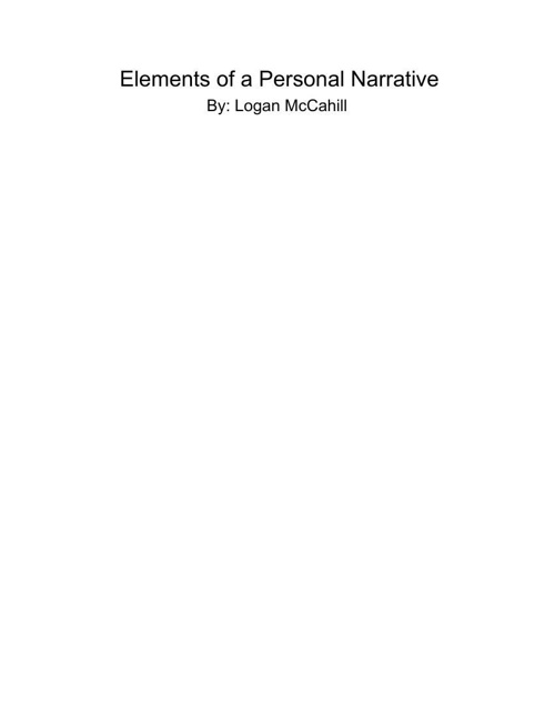 logan ElementsofaPersonalNarrative