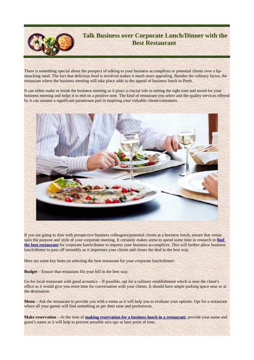 Talk Business over Corporate Lunch Dinner with the Best Restaura