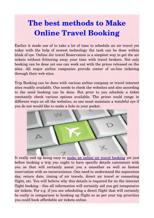 The best methods to Make Online Travel Booking