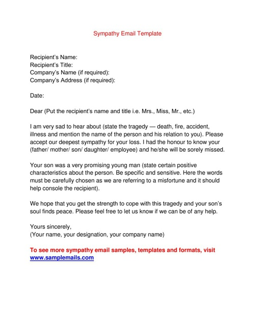 Sympathy Email Template