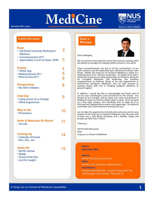 MediCine Newsletter Issue 1