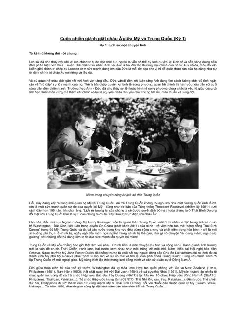 Cuộc chiến giành giật châu Á giữa Mỹ và Trung Quốc