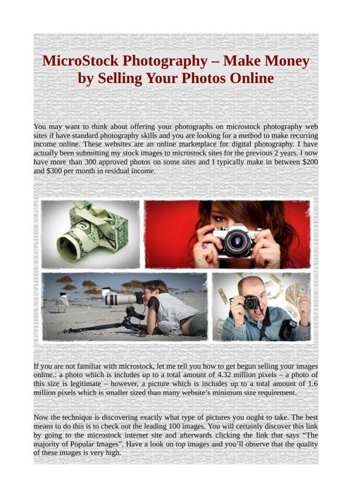 MicroStock Photography – Make Money by Selling Your Photos Onlin