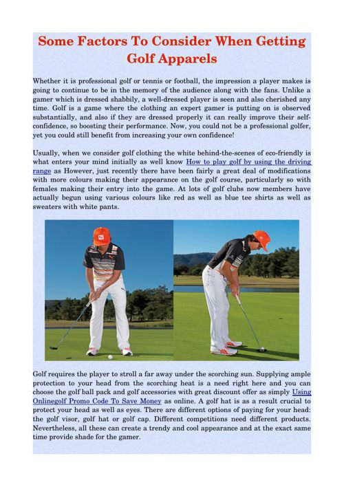 Some Factors To Consider When Getting Golf Apparels