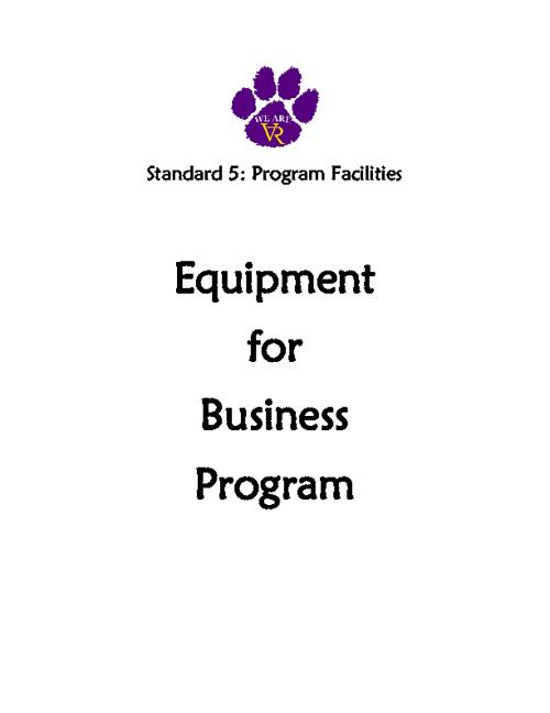 Standard 5: #41 Equipment for Business Program